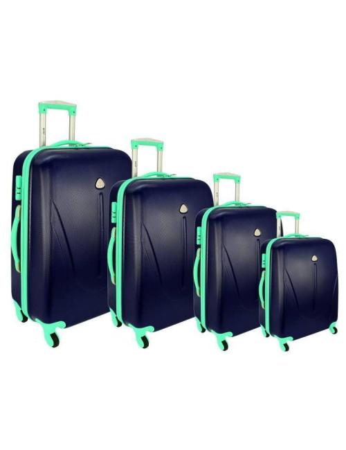 Zestaw walizek podróżnych na kółkach 883 4w1 - granatowo-miętowy