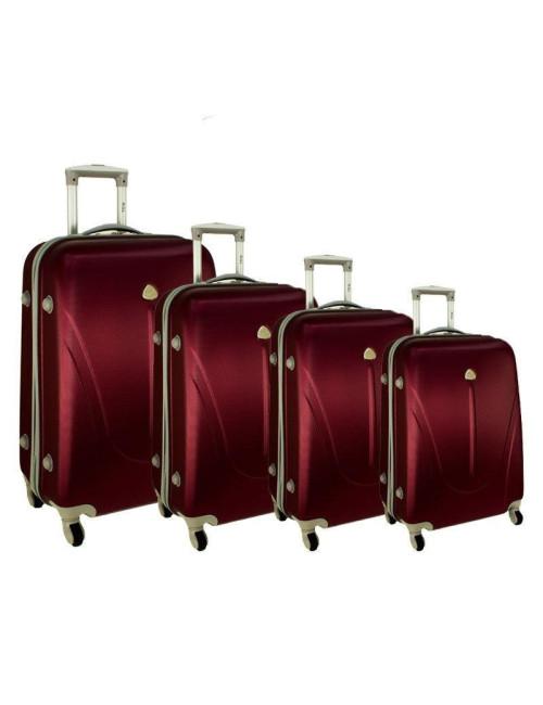Zestaw walizek podróżnych na kółkach 883 4w1 - bordowy