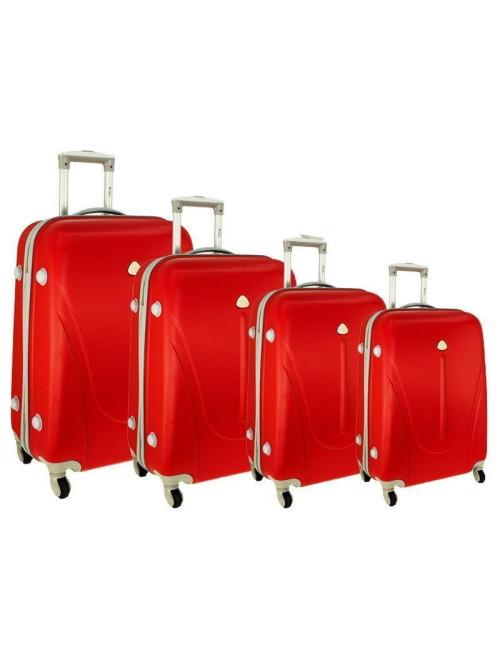 Zestaw walizek podróżnych na kółkach 883 4w1 - czerwony