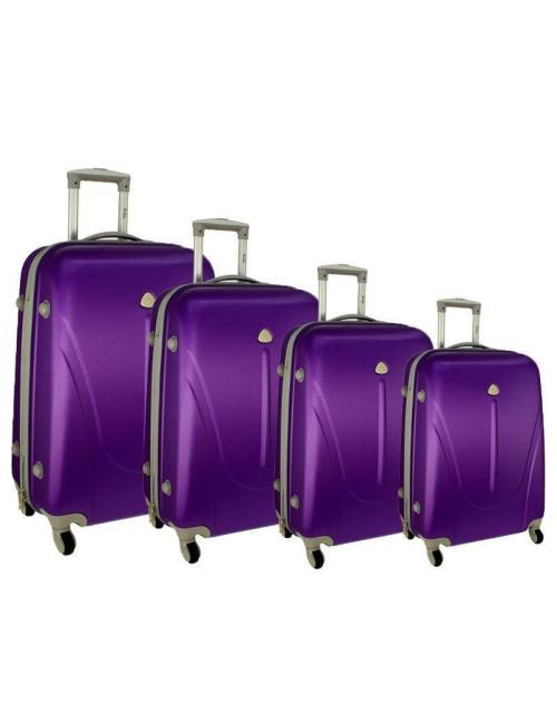 Zestaw walizek podróżnych na kółkach 883 4w1 - fioletowy