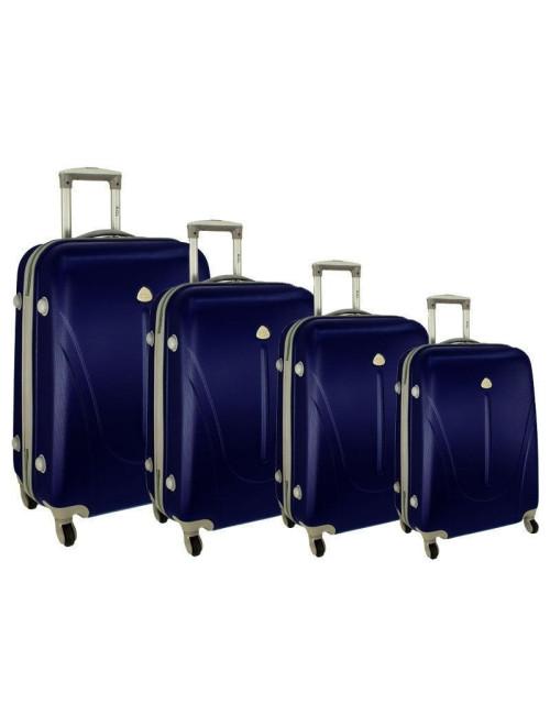 Zestaw walizek podróżnych na kółkach 883 4w1 - granatowy