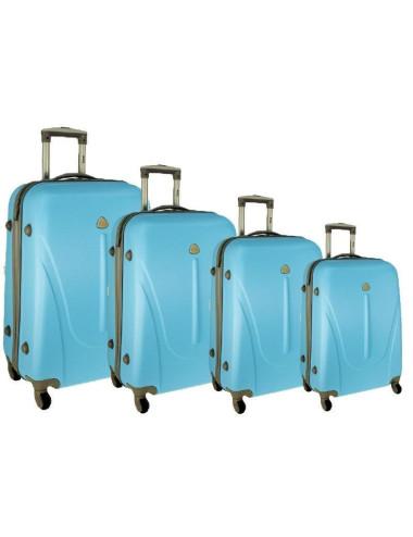 Zestaw walizek podróżnych na kółkach 883 4w1 - lazurowy