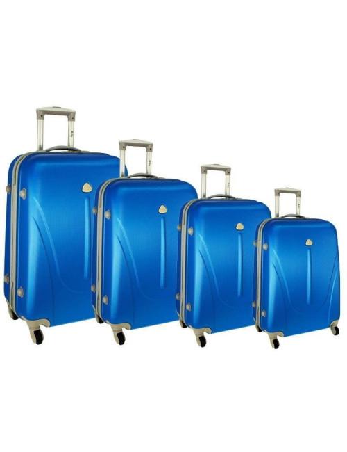 Zestaw walizek podróżnych na kółkach 883 4w1 - niebieski