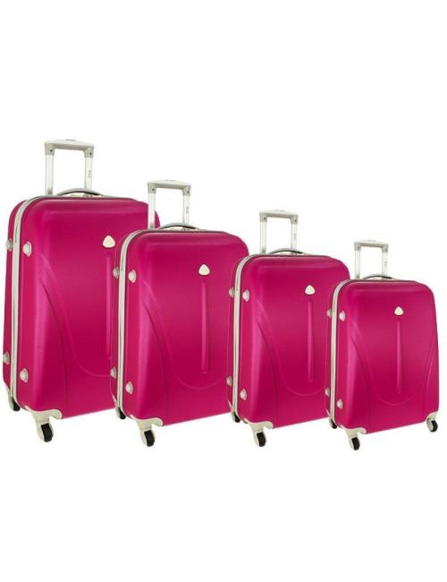 Zestaw walizek podróżnych na kółkach 883 4w1 - różowy