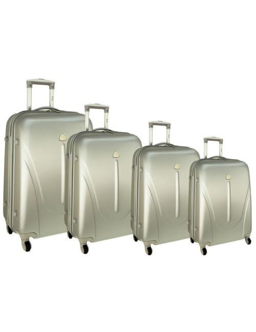 Zestaw walizek podróżnych na kółkach 883 4w1 - srebrny