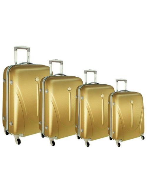 Zestaw walizek podróżnych na kółkach 883 4w1 - szampański
