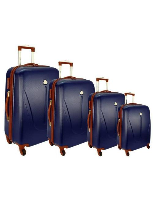 Zestaw walizek podróżnych na kółkach 883 4w1 - granatowo-brązowy