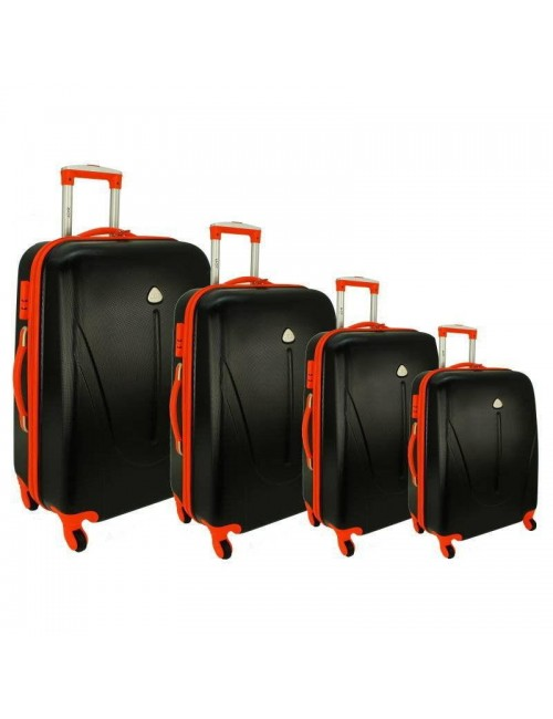 Zestaw walizek podróżnych na kółkach 883 4w1 - czarno-pomarańczowy