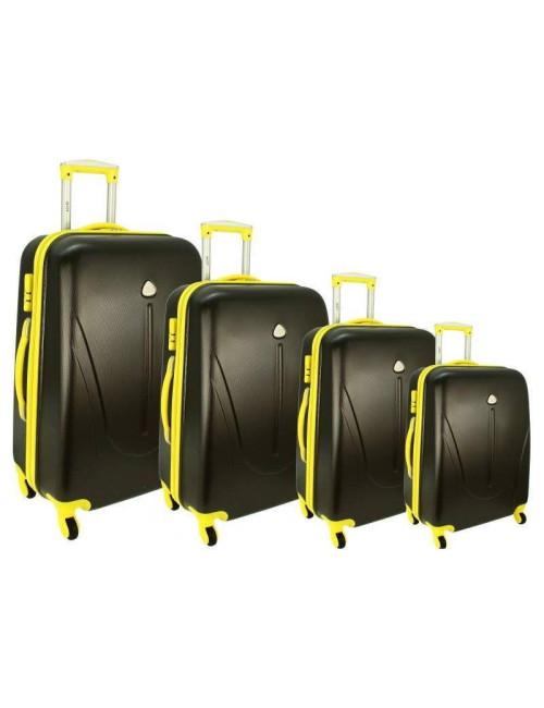 Zestaw walizek podróżnych na kółkach 883 4w1 - grafitowo-czarny