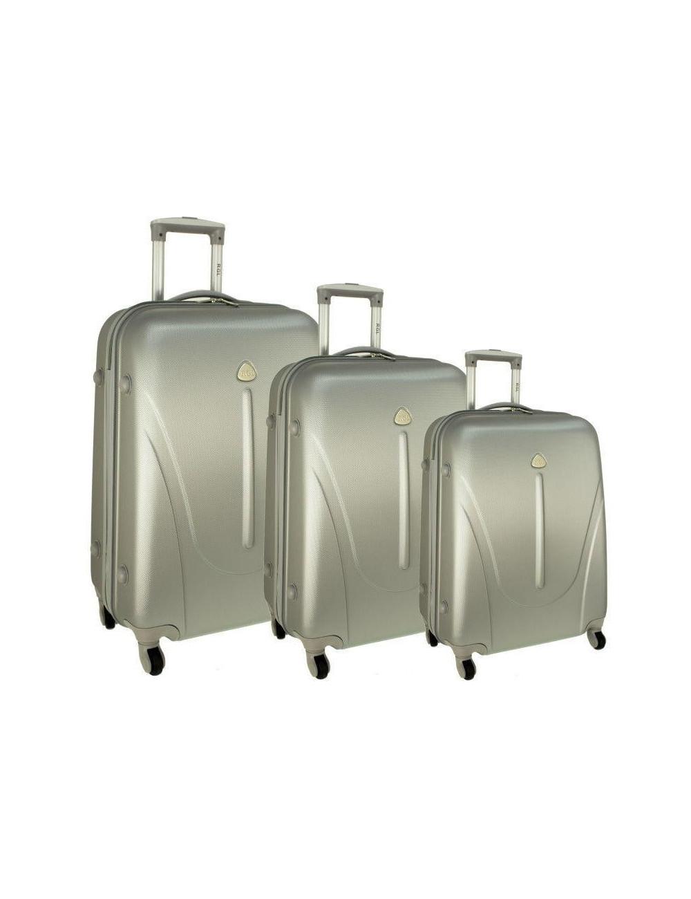 Zestaw walizek podróżnych na kółkach 883 3w1 RGL - srebrnych