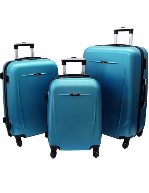 Zestaw walizek podróżnych na kółkach 3w1 780 XXL XL L - niebieski metaliczny