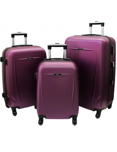 Zestaw walizek podróżnych na kółkach 3w1 780 XXL XL L - śliwkowy