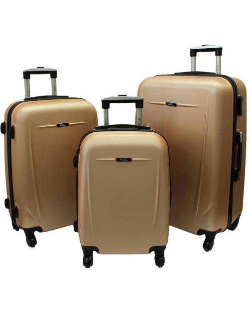 Zestaw walizek podróżnych na kółkach 3w1 780 XXL XL L - szampański