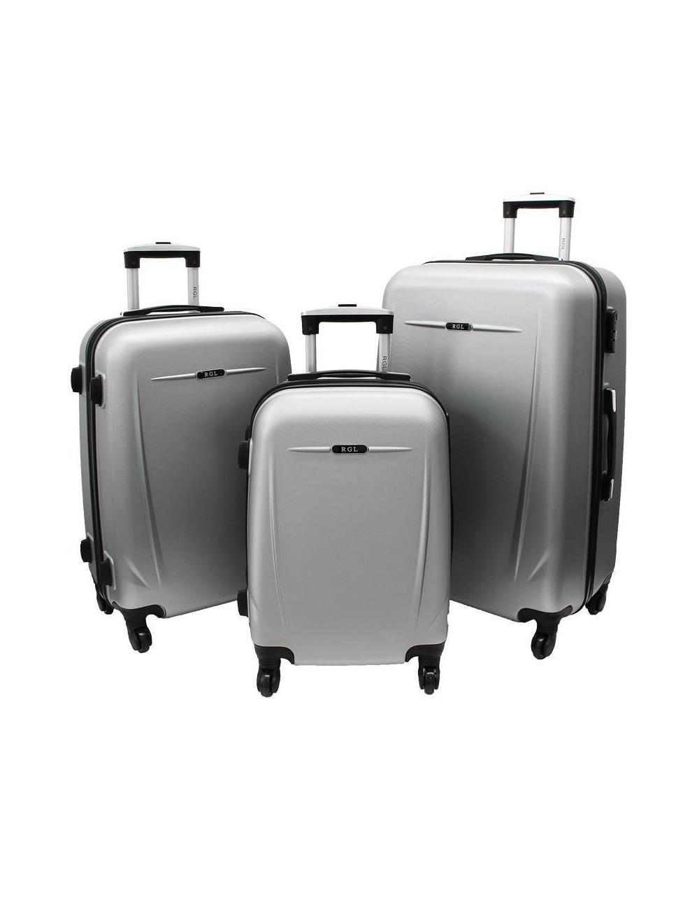 Zestaw walizek podróżnych na kółkach 3w1 780 XXL XL L - srebrny