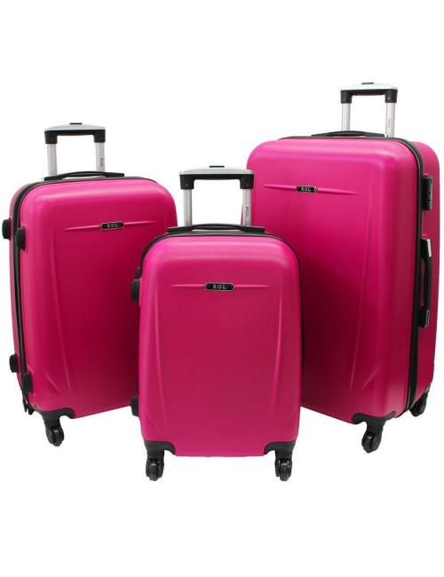 Zestaw walizek podróżnych na kółkach 3w1 780 XXL XL L - różowy