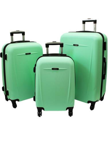 Zestaw walizek podróżnych na kółkach 3w1 780 XXL XL L - miętowy