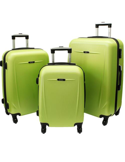 Zestaw walizek podróżnych na kółkach 3w1 780 XXL XL L - limonkowy