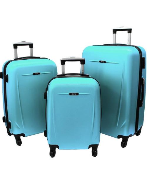 Zestaw walizek podróżnych na kółkach 3w1 780 XXL XL L - lazurowy