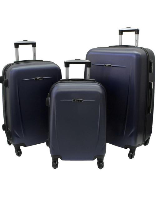 Zestaw walizek podróżnych na kółkach 3w1 780 XXL XL L - granatowy