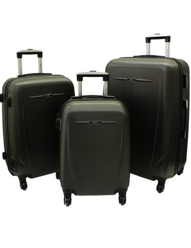 Zestaw walizek podróżnych na kółkach 3w1 780 XXL XL L - grafitowy
