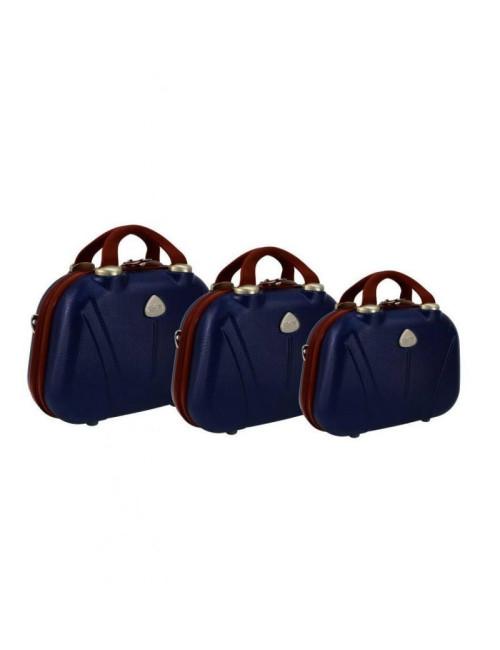 Zestaw kuferków kosmetyczek podróżnych 883 3w1 - granatowo-brązowych