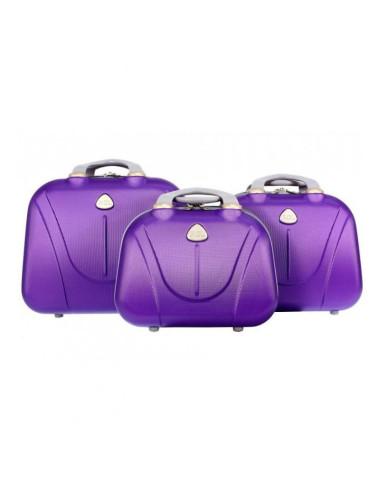 Zestaw kuferków kosmetyczek podróżnych 883 3w1 - fioletowych