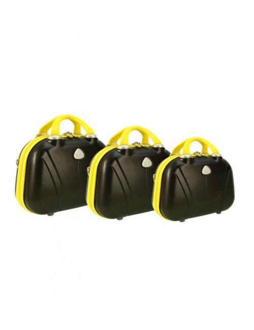 Zestaw kuferków kosmetyczek podróżnych 883 3w1 - żółto-grafitowych