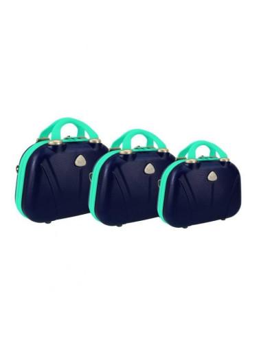 Zestaw kuferków kosmetyczek podróżnych 883 3w1 - granatowo-miętowych