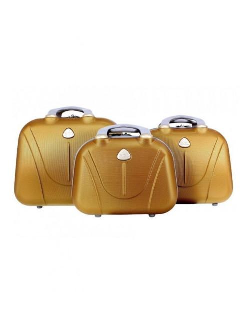 Zestaw kuferków kosmetyczek podróżnych 883 3w1 - złotych