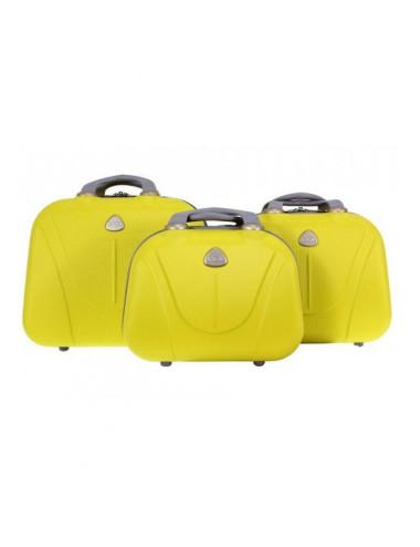 Zestaw kuferków kosmetyczek podróżnych 883 3w1 - żółtych