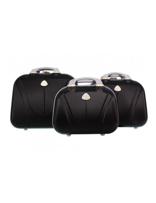 Zestaw kuferków kosmetyczek podróżnych 883 3w1 - czarnych