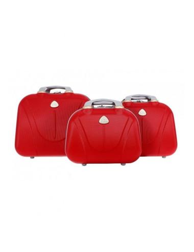Zestaw kuferków kosmetyczek podróżnych 883 3w1 - czerwonych