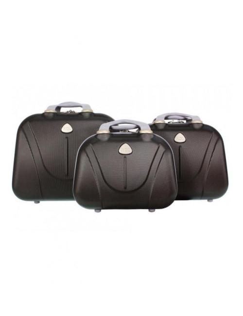 Zestaw kuferków kosmetyczek podróżnych 883 3w1 - grafitowych