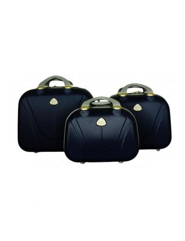 Zestaw kuferków kosmetyczek podróżnych 883 3w1 - granatowych