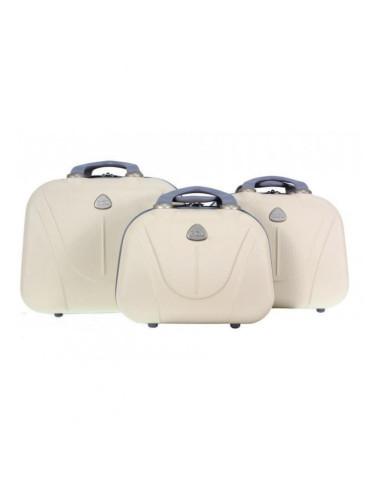 Zestaw kuferków kosmetyczek podróżnych 883 3w1 - kremowych