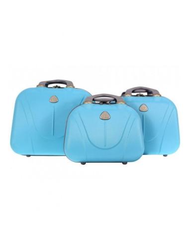 Zestaw kuferków kosmetyczek podróżnych 883 3w1 - lazurowych