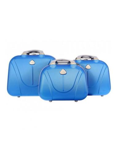 Zestaw kuferków kosmetyczek podróżnych 883 3w1 - niebieski