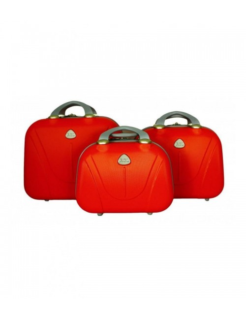 Zestaw kuferków kosmetyczek podróżnych 883 3w1 - pomarańczowych