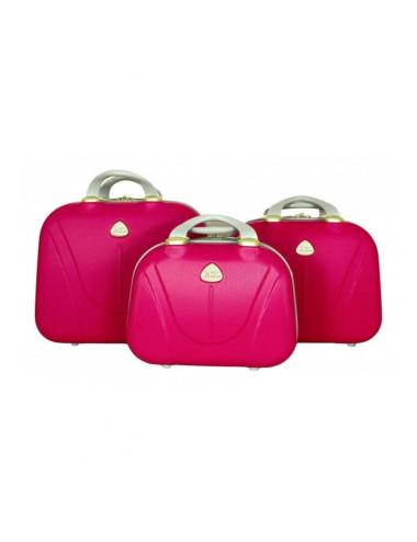 Zestaw kuferków kosmetyczek podróżnych 883 3w1 - różowych