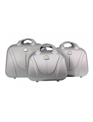 Zestaw kuferków kosmetyczek podróżnych 883 3w1 - srebrnych