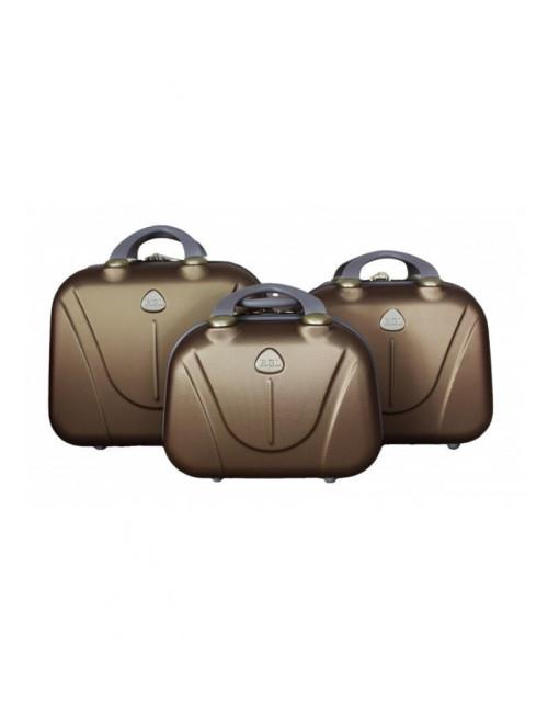 Zestaw kuferków kosmetyczek podróżnych 883 3w1 - szampańskich