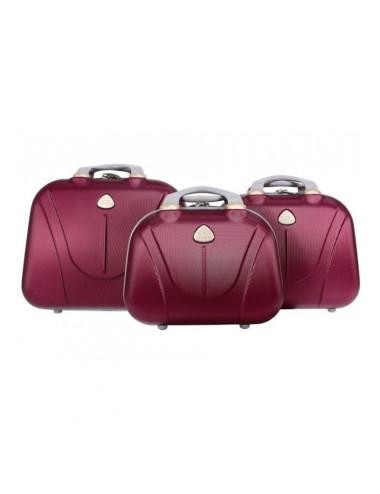 Zestaw kuferków kosmetyczek podróżnych 883 3w1 - bordowych