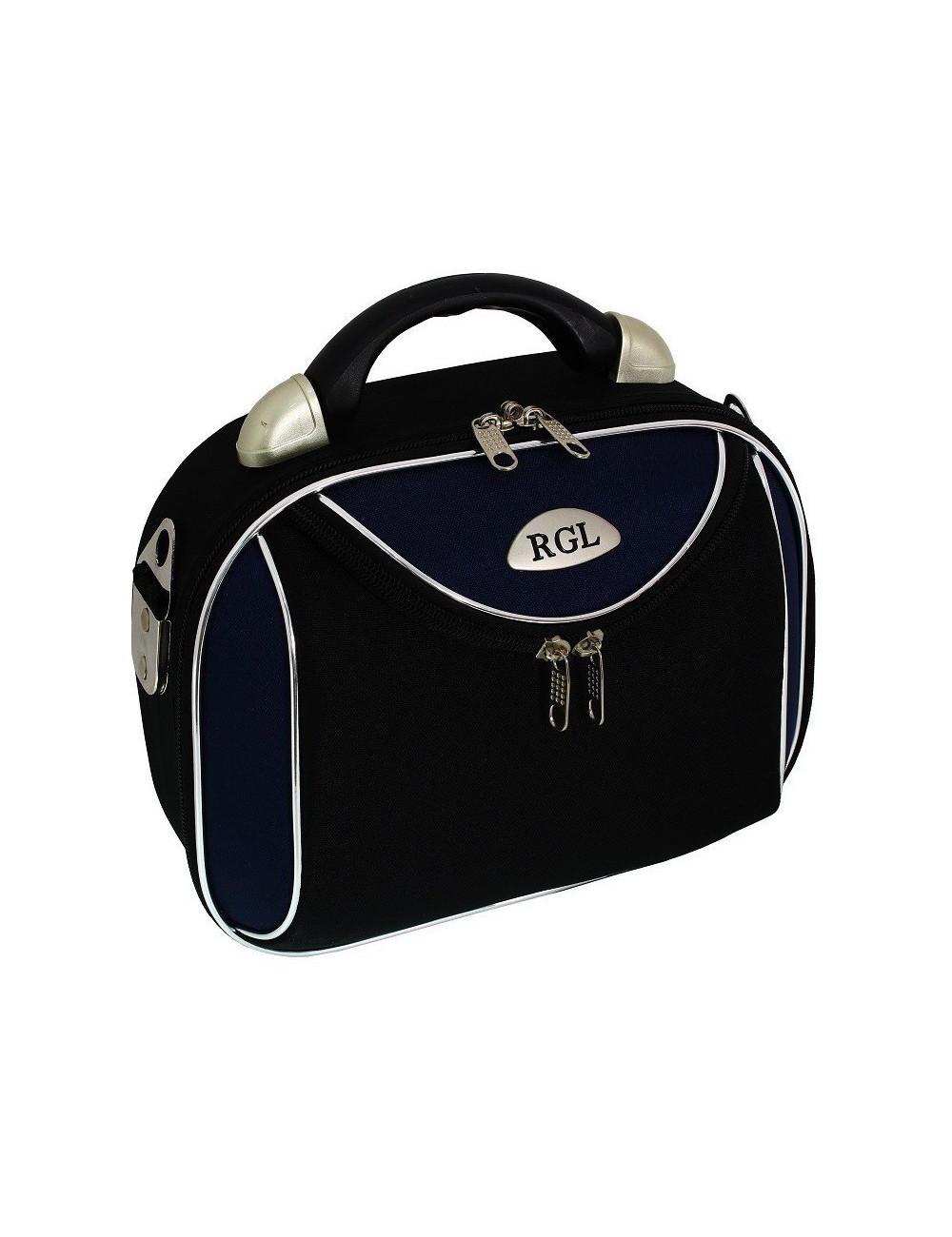 Mały kuferek podróżny kosmetyczka 773 L - granatowo-czarny