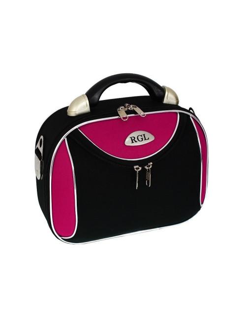 Mały kuferek podróżny kosmetyczka 773 L - różowo-czarny