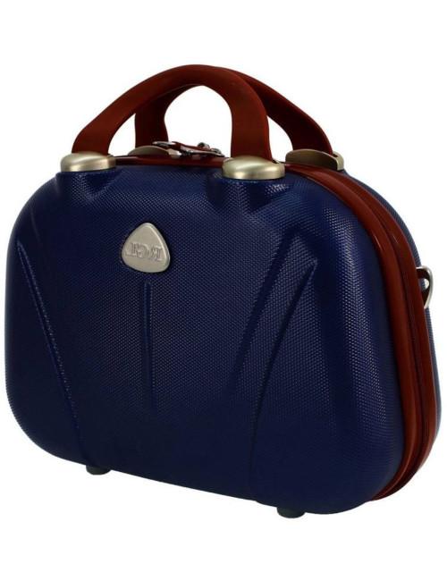 Duży kuferek podróżny 883 XXL - granatowo-brązowy