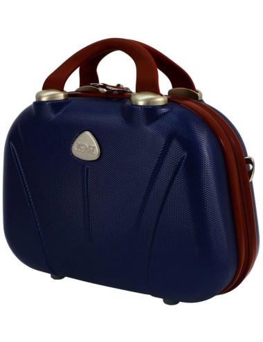 Średni kuferek 883 XL - granatowo-brązowy