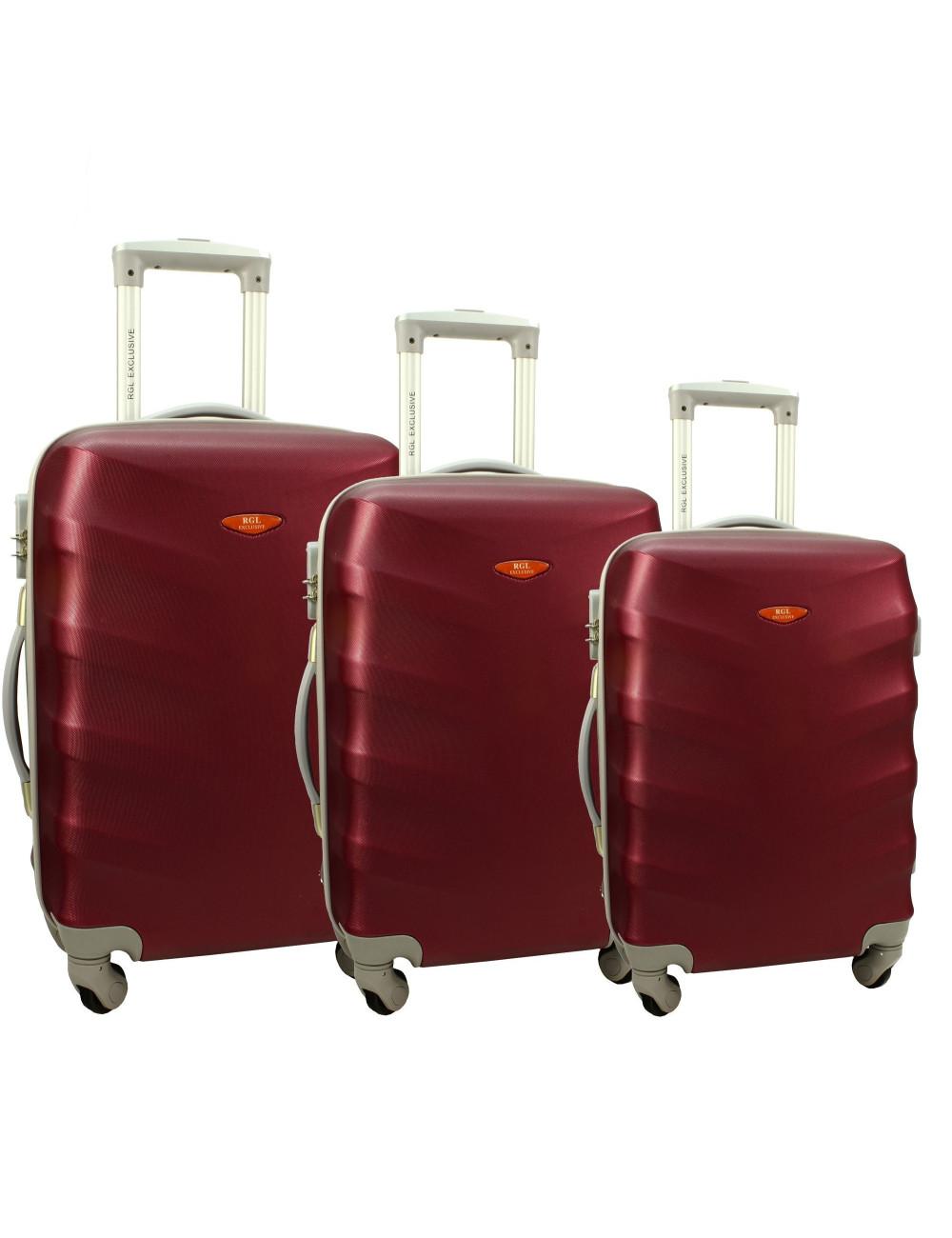 Zestaw walizek podróżnych na kółkach 3w1 81 RGL - bordowy