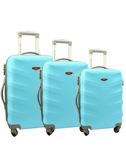 Zestaw walizek podróżnych na kółkach 3w1 81 RGL - lazurowy