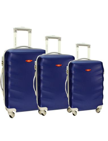 Zestaw walizek podróżnych na kółkach 3w1 81 RGL - granatowy