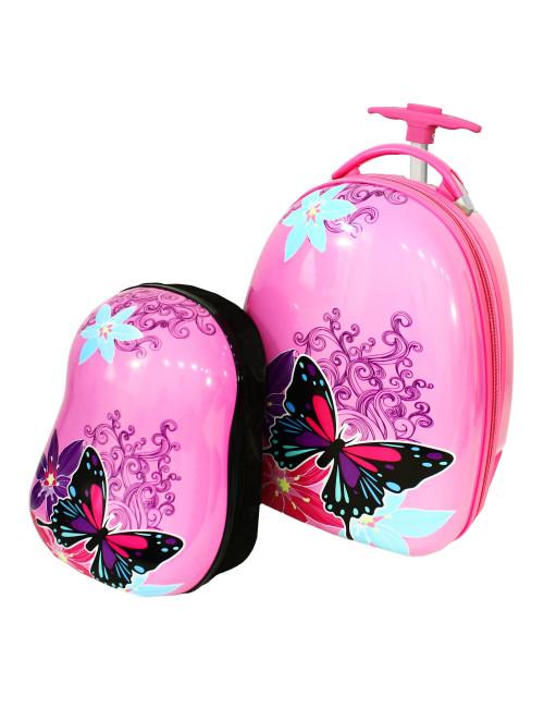 Walizka dziecięca podróżna na dwóch kółkach kauczukowych + plecak gratis - motylek